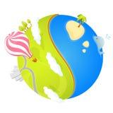 Bunte Illustration eines netten kleinen Planeten Stockfoto