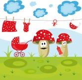 Bunte Illustration mit Pilzen einer lustigen Familie Stockbild