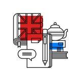 Bunte Illustration ungefähr englisch in der modernen Entwurfsart Abhängige Ikone des Colleges Stockbild