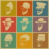 Bunte Illustration von Ikonen von Leuten in den Hüten Stockfoto