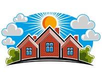 Bunte Illustration von Landhäusern auf sonnigem Hintergrund mit Stockfotografie