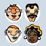 Bunte Illustration von lustigen Gesichtern 1 Stockfotografie