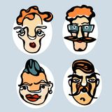 Bunte Illustration von lustigen Gesichtern 2 Stockbild
