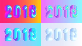 Bunte 2018 Illustrationen des Vektors stellten, frohe Weihnachten und guten Rutsch ins Neue Jahr ein Stockfoto