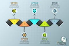 Bunte Infographic-Design-Schablone mit Dreiecken lizenzfreie abbildung