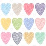 Bunte Innere Romantisches nahtloses Vektormuster für Valentinstag oder Hochzeit Stockbild