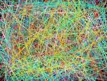 Bunte intensive Linien, die im schwarzen Hintergrund kreuzen stockbild