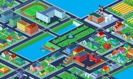 Bunte isometrische Stadt mit vielen Gebäuden Stockbild