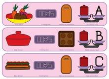 Bunte Küchenikonen für normalerweise Lebensmittel Lizenzfreie Stockfotos