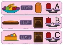Bunte Küchenikonen für süßes Lebensmittel Lizenzfreie Stockfotos