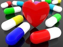 Bunte Kapseln von Medizin und von rotem Herzen auf einem schwarzen Hintergrund stock abbildung