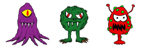 Bunte Karikatur-kalte Grippe-Virus-Programmfehler-Abbildung lizenzfreie abbildung