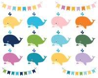 Bunte Karikatur-Wale und Fahnen stock abbildung