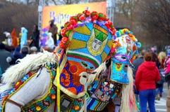 Bunte Karnevalspantomimenspieler Lizenzfreies Stockfoto