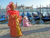 Bunte Karnevalsschablone in Venedig Lizenzfreie Stockfotos