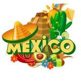 Bunte Karte des Vektors mit Pyramide über Mexiko Tropische Rücksortierung Viva Mexiko Reiseplakat mit mexikanischen Einzelteilen stock abbildung