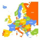 Bunte Karte von Europa lizenzfreie abbildung