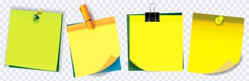 Bunte klebrige Anmerkung Anwendung in der Schule, in der Arbeit oder in der Bürotätigkeit lizenzfreie abbildung
