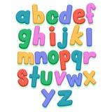 Bunte kleine Buchstaben eingestellt Stockfotografie