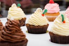 Bunte kleine Kuchen mit verschiedenen Geschmäcken Populäre Nachtischkleine kuchen auf weißer Tabelle Abschluss oben Stockfotos