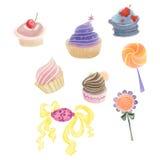 Bunte kleine Kuchen, Süßigkeiten und Lutscher gezeichnet durch Aquarell, Bleistift Stockfotografie