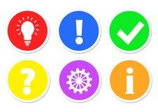 Bunte Knöpfe mit Frage, Arbeit, Idee, Informationen, O.K. u. Antwort, s stock abbildung