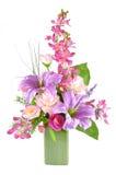 Bunte künstliche Blumen-Anordnung Lizenzfreies Stockbild