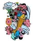 Bunte koi Fische und Blume Stockbilder