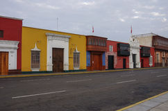 Bunte Kolonialhäuser in Trujillo im Stadtzentrum gelegen, Peru Lizenzfreies Stockbild