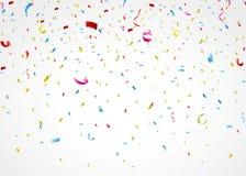 Bunte Konfettis auf weißem Hintergrund Stockfoto