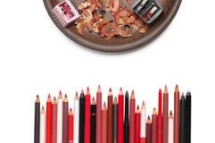 Bunte kosmetische Bleistifte eingestellt Lizenzfreie Stockfotografie