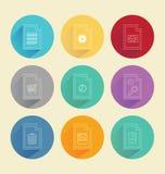 Bunte Kreise mit Datenverarbeitungsikonen Stockfoto