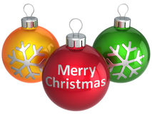 Bunte Kugeln der frohen Weihnachten (Mieten) Lizenzfreie Stockfotos