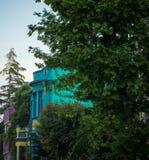 Bunte Landhäuser in Istanbul mit Bäumen Stockfoto