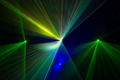 Bunte Laserstrahlen Stockfotografie