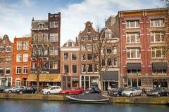 Bunte lebende Häuser in Amsterdam Lizenzfreie Stockfotos