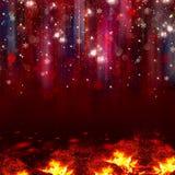 Bunte Lichter auf rotem Hintergrund Stockbilder