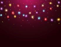 Bunte Lichter mit Konfettis Stockfoto