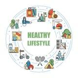 Bunte Linie Vektorikonen der gesunden Lebensstilgewohnheiten Richtige Nahrung, körperliche Tätigkeit, Rest und Hobby Energie und vektor abbildung