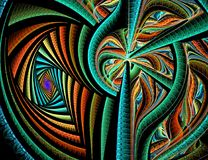 Bunte Linien des abstrakten Fractal auf schwarzem Hintergrund lizenzfreies stockfoto