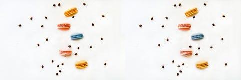 Bunte macarons Kuchen und Kaffee, flache Lage der Draufsicht, fliegen fallende s??e Makrone auf Farbwei?em Hintergrund lizenzfreie stockfotos
