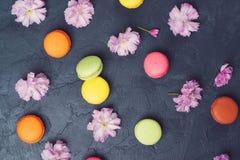 Bunte macarons mit Frühling Kirschblüte blüht auf schwarzem backround Stockfotos