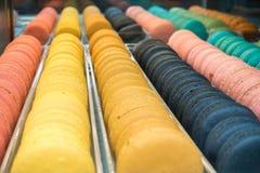 Bunte Makronen Muster und Farben Lizenzfreies Stockfoto
