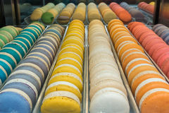 Bunte Makronen Muster und Farben Stockbild