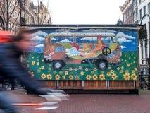 Bunte Malerei, zum Frieden in Amsterdam zu fordern Stockfotografie