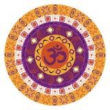 Bunte Mandala mit OM-Symbol Stock Abbildung