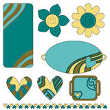 Bunte Marken oder Kennsätze, Innere und Blumen Stockfotos