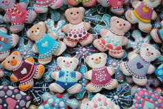 Bunte Mischung von Honey Cookies, Teddybär geformt Lizenzfreies Stockbild