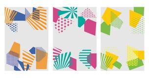 Bunte modische geometrische flache Elemente des Musters Memphis knall stock abbildung