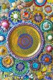 Bunte Mosaikkunst und abstrakter Wandhintergrund. Lizenzfreies Stockfoto